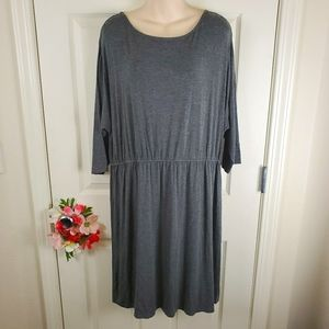 Merona solid gray blouson knit dress xxl